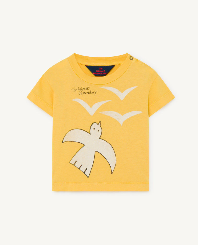 ROOSTER BABY T-SHIRT, YELLOW BIRDS - Cemarose Children's Fashion Boutique