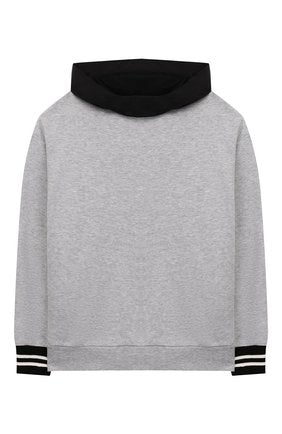 BOYS HOODED SWEAT TOP WITH LOGO ON BACK, GREY