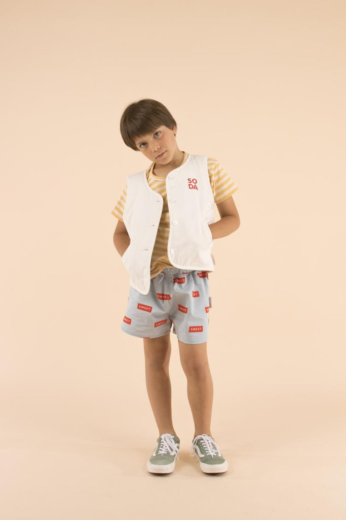 SS19-SWEET,SHORT mild blue/red - Cemarose Children's Fashion Boutique