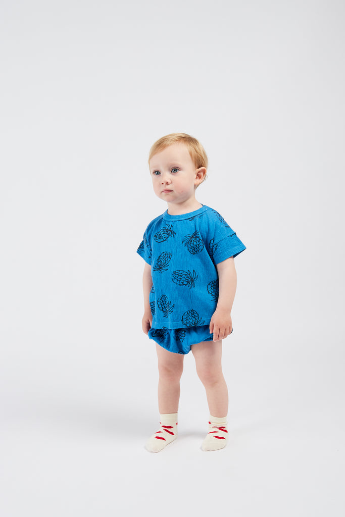 All Over Pineapple Bloomer, Azure Blue - Cemarose Children's Fashion Boutique
