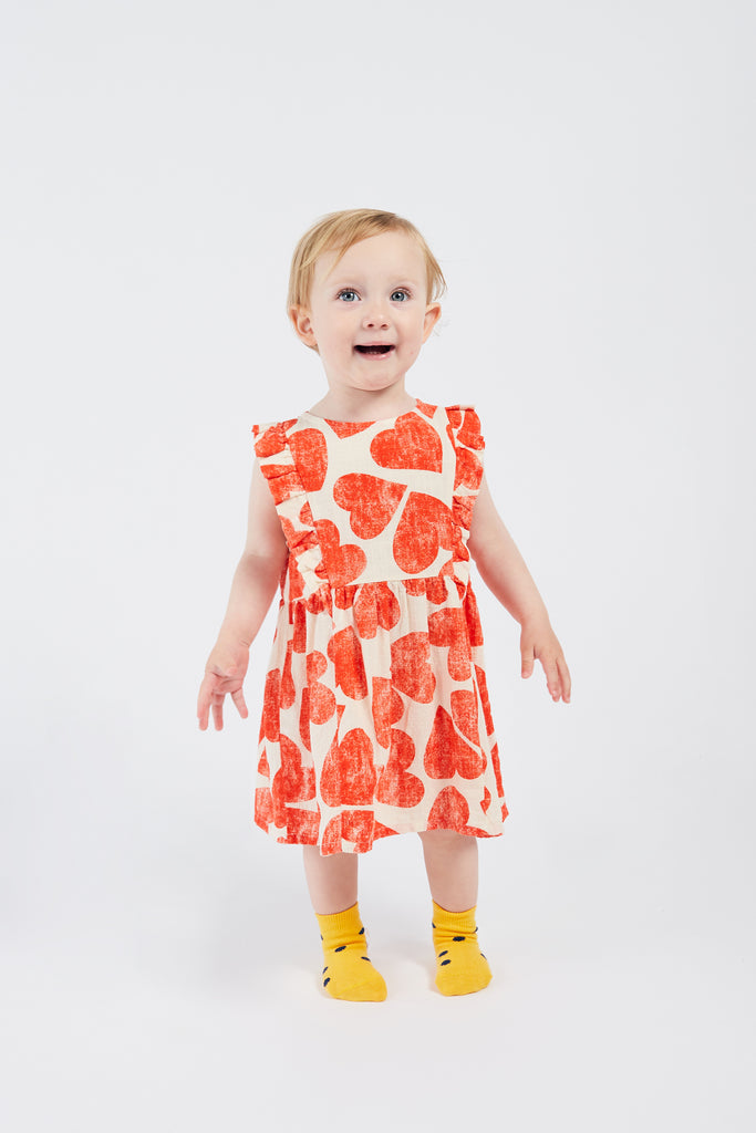 All Over  Hearts Ruffle Dress, Turtledove - Cémarose Canada