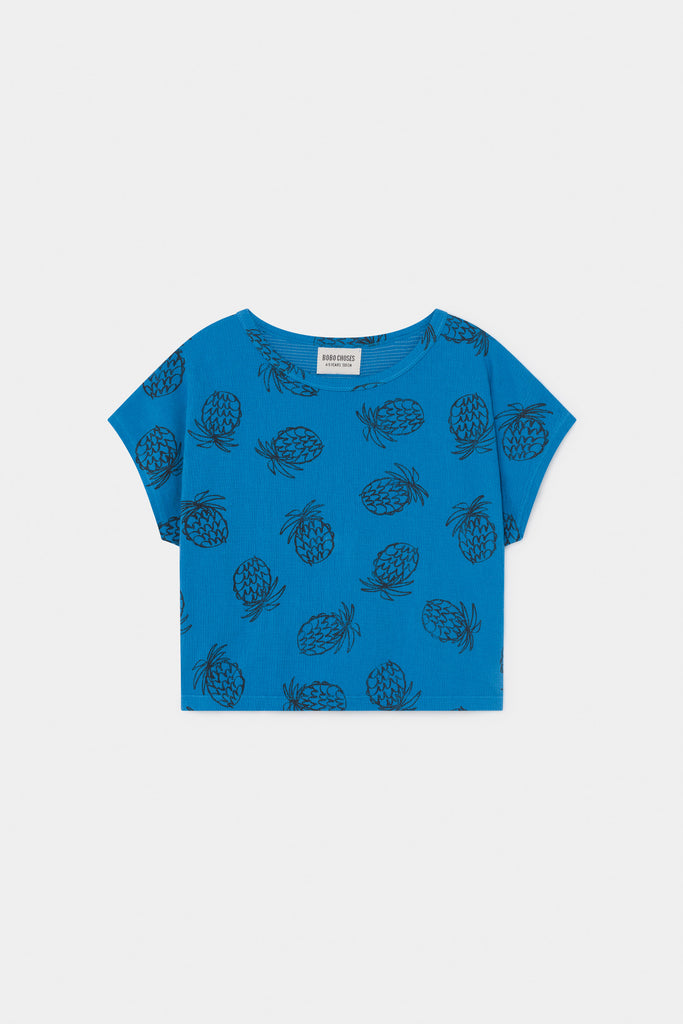 All Over Pineapple Short Sleeve T-Shirt, Azure Blue - Cemarose Children's Fashion Boutique