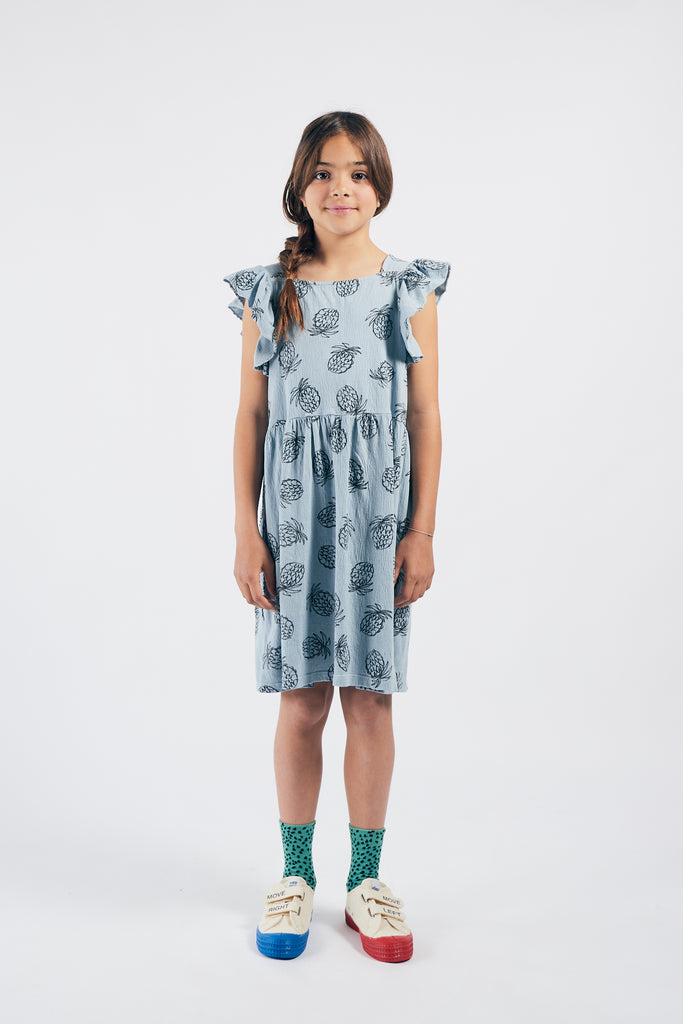 All Over Pineapple Jersey Ruffle Dress, Blue Fog - Cémarose Canada