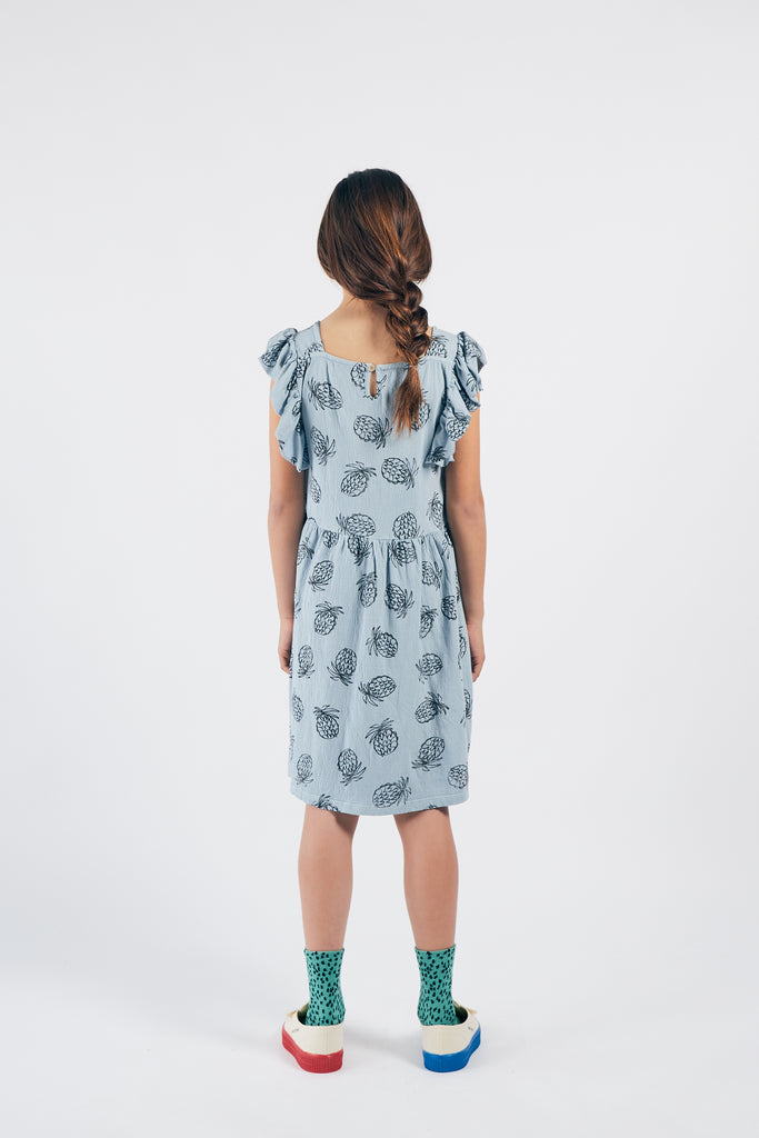 All Over Pineapple Jersey Ruffle Dress, Blue Fog - Cemarose Children's Fashion Boutique