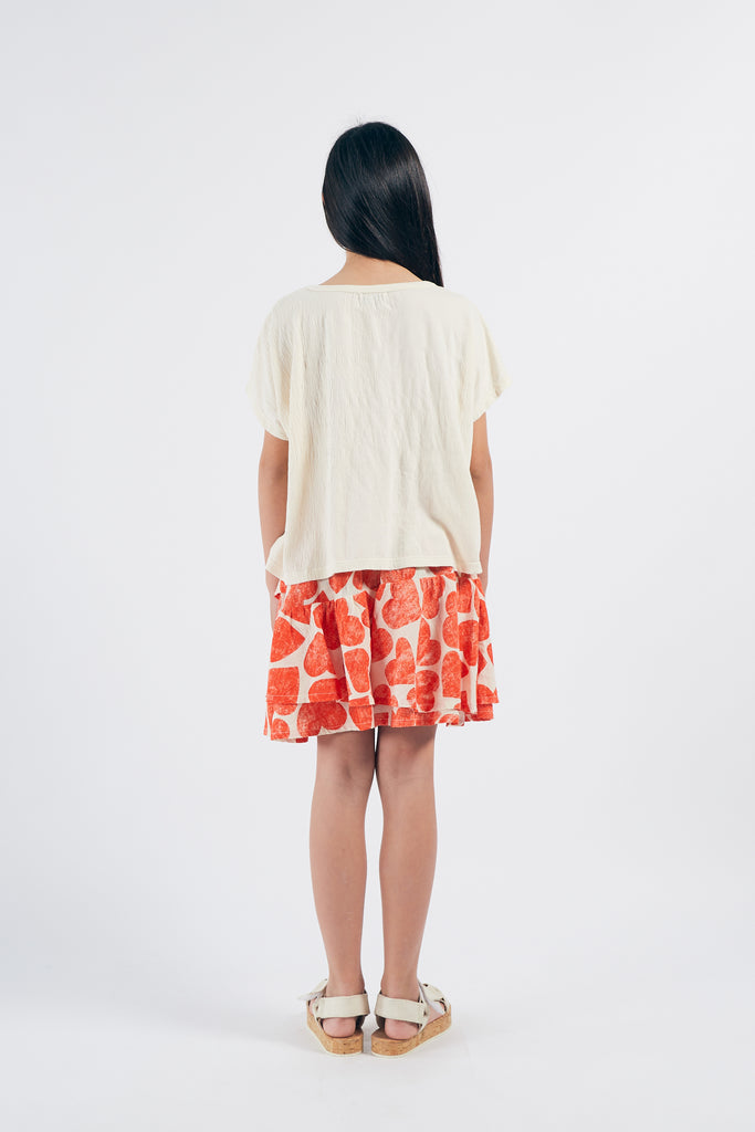 All Over  Hearts Ruffles Skirt, Turtledove