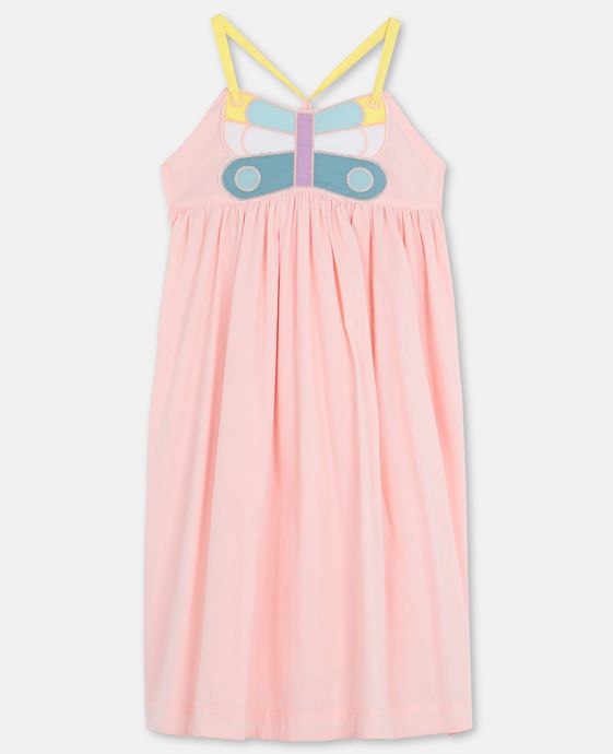 KID GIRL SLEEVELESS DRESS WITH BUTTERFLY PATCH,PINK