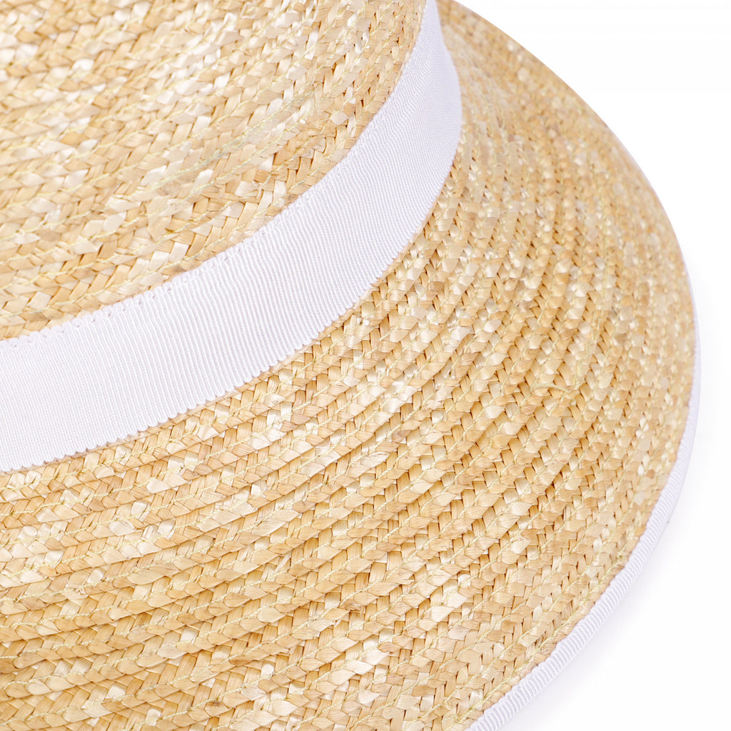 KID GIRL STRAW HAT WITH RIBBON, WHITE - Cémarose Canada