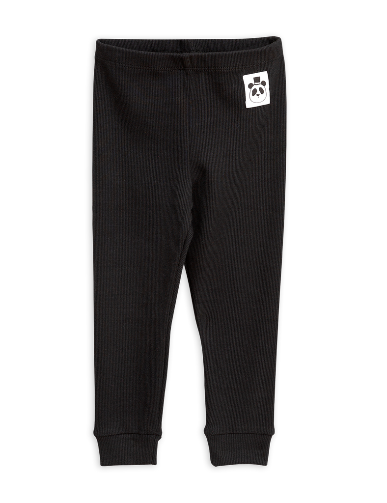 MINI RODINI Solid rib leggings, Black - Cemarose Children's Fashion Boutique