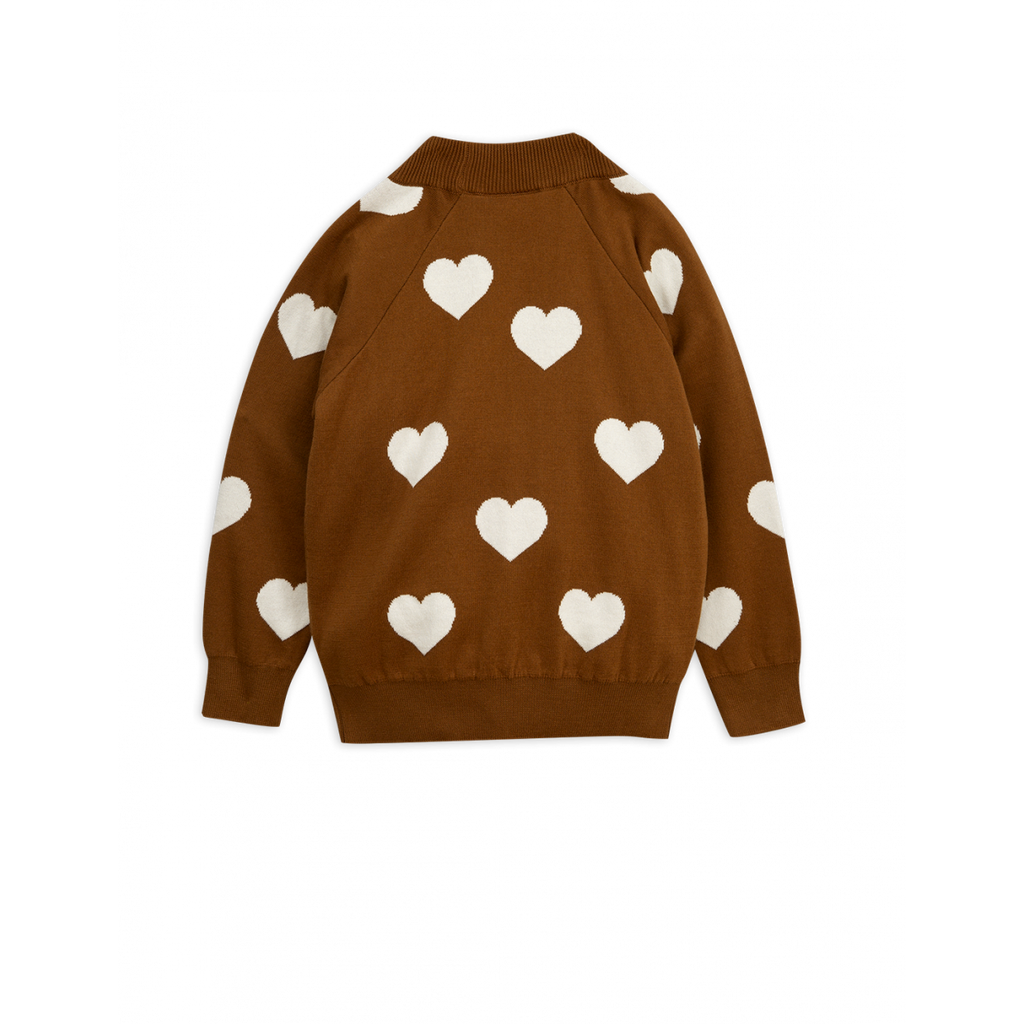 MINI RODINI Knitted heart sweater, Brown - Cemarose Children's Fashion Boutique