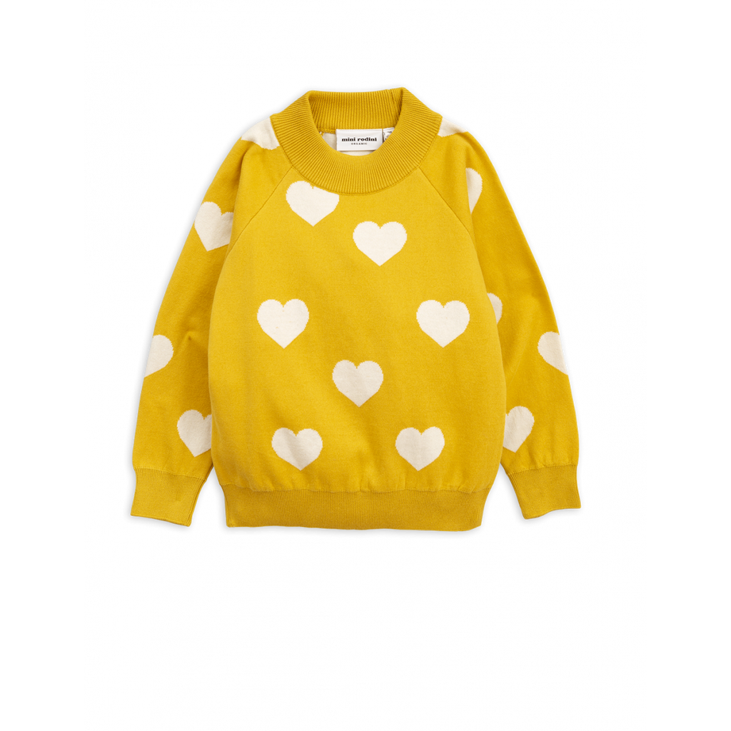 MINI RODINI Knitted heart sweater, Yellow - Cemarose Children's Fashion Boutique