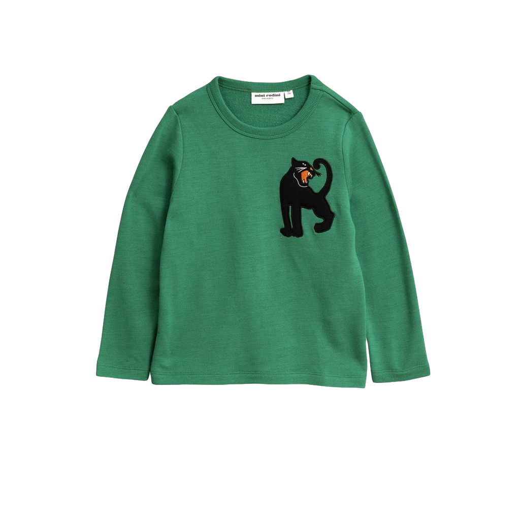 Panther wool terry sweatshirt, green - Cemarose Children's Fashion Boutique