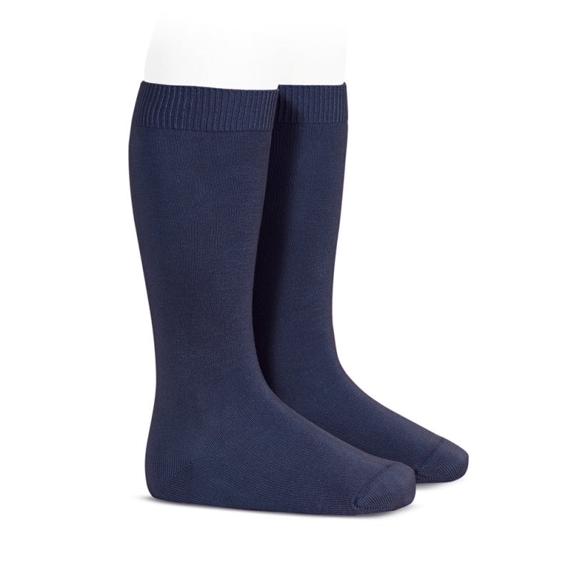 BASIC PLAIN RIB KNEE HIGH SOCKS, NAVY BLUE - Cemarose Children's Fashion Boutique