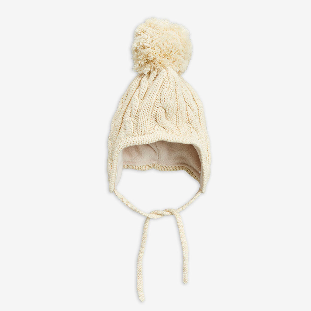 Cable knitted baby hat,Off White