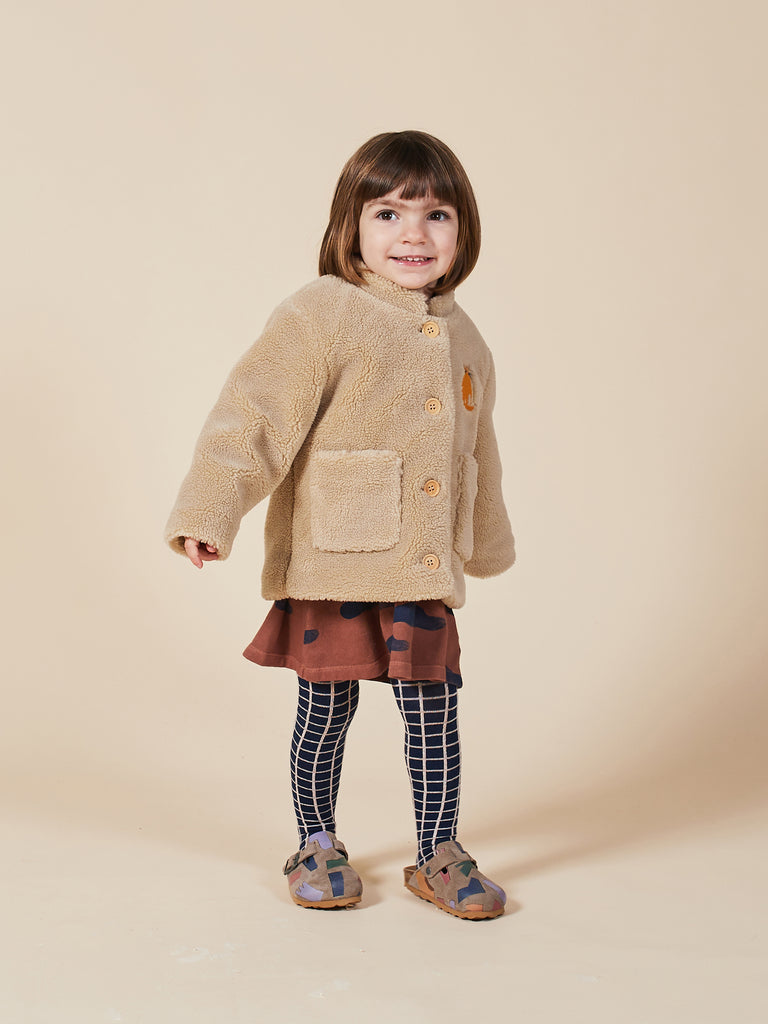 Cat Patch Sheepskin Jacket - Cemarose Children's Fashion Boutique