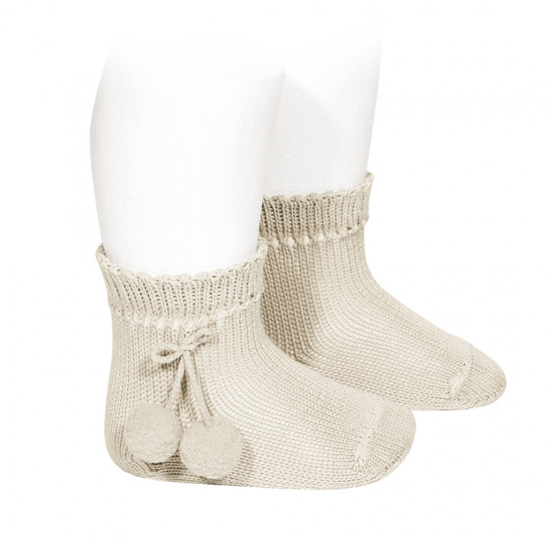 PERLE SHORT SOCKS WITH POMPOMS, 2.504/4-304 - Cemarose Children's Fashion Boutique