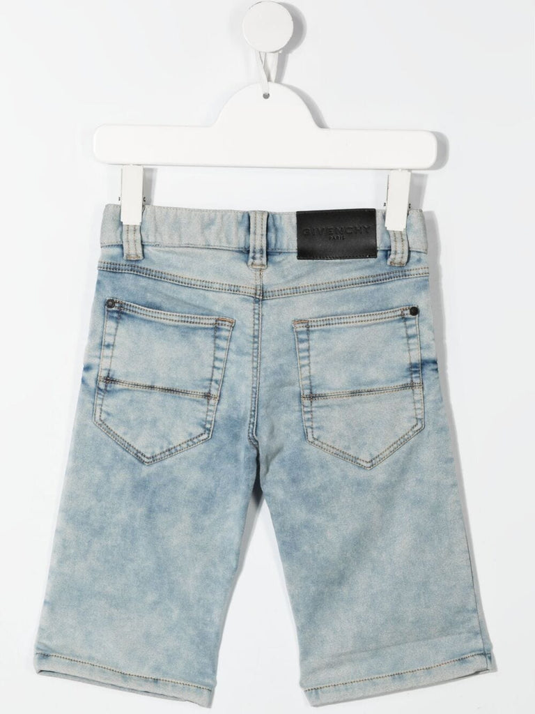 BOY 5POCKETS SHORTS,LEATHER FLAG LABEL BACK,DENIM