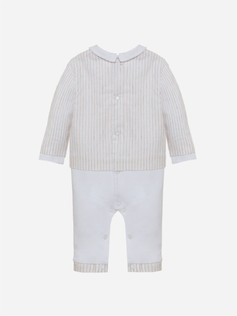 BEGE STRIPED LINEN BABYGROW