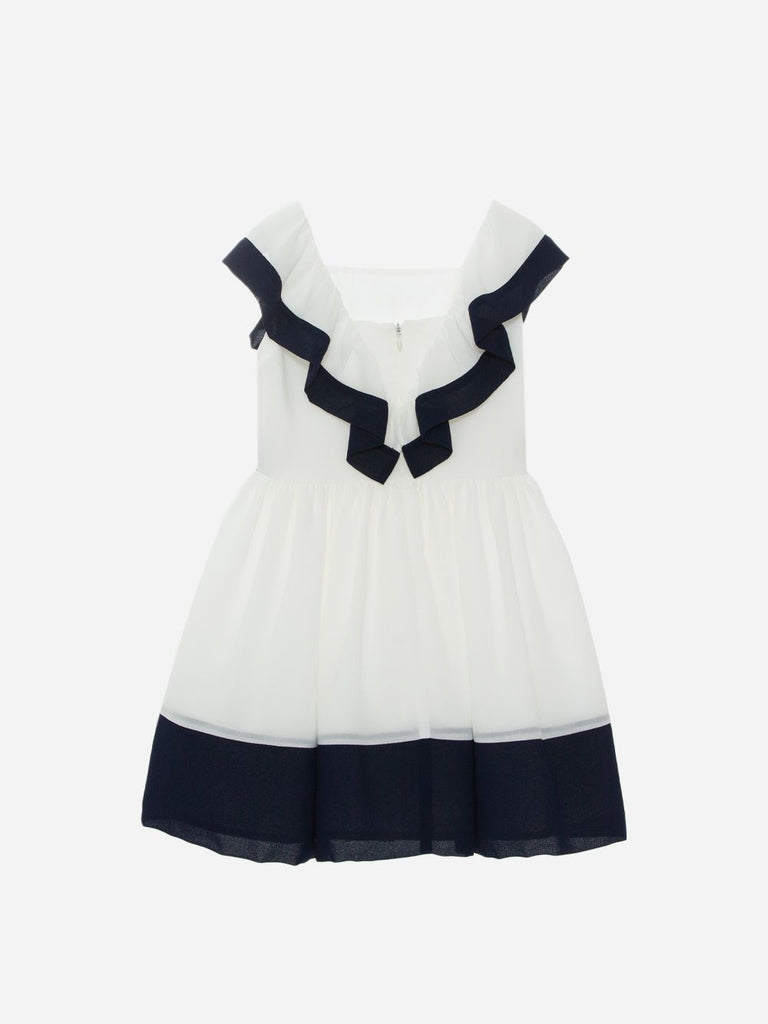 OFF WHITE CHIFFON DRESS,ECRU