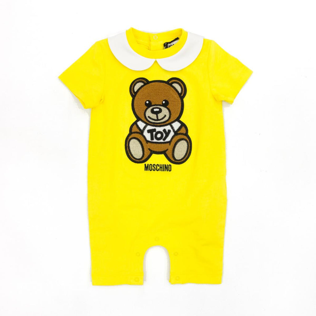 BABY SS ROMPER W COLLAR BEAR PRT W GIFT BOX,CYBER YELLOW