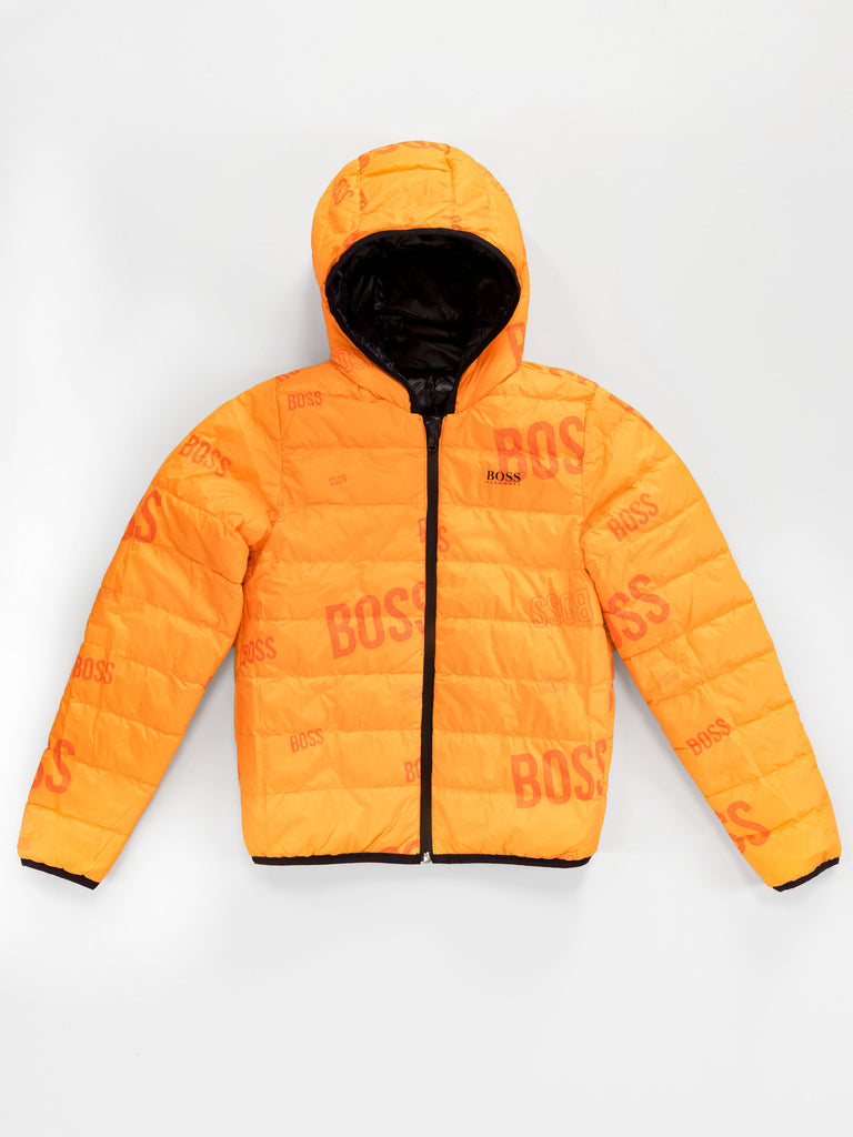 REVERSIBLE PUFFER JACKET J26416,BLACK/ORANGE