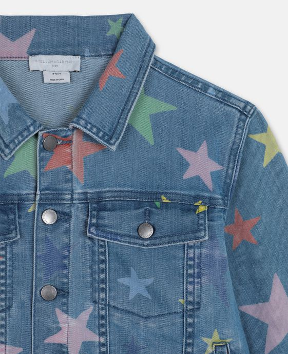 KID GIRL MULTICOLOR STARS DENIM JACKETE,BLUE