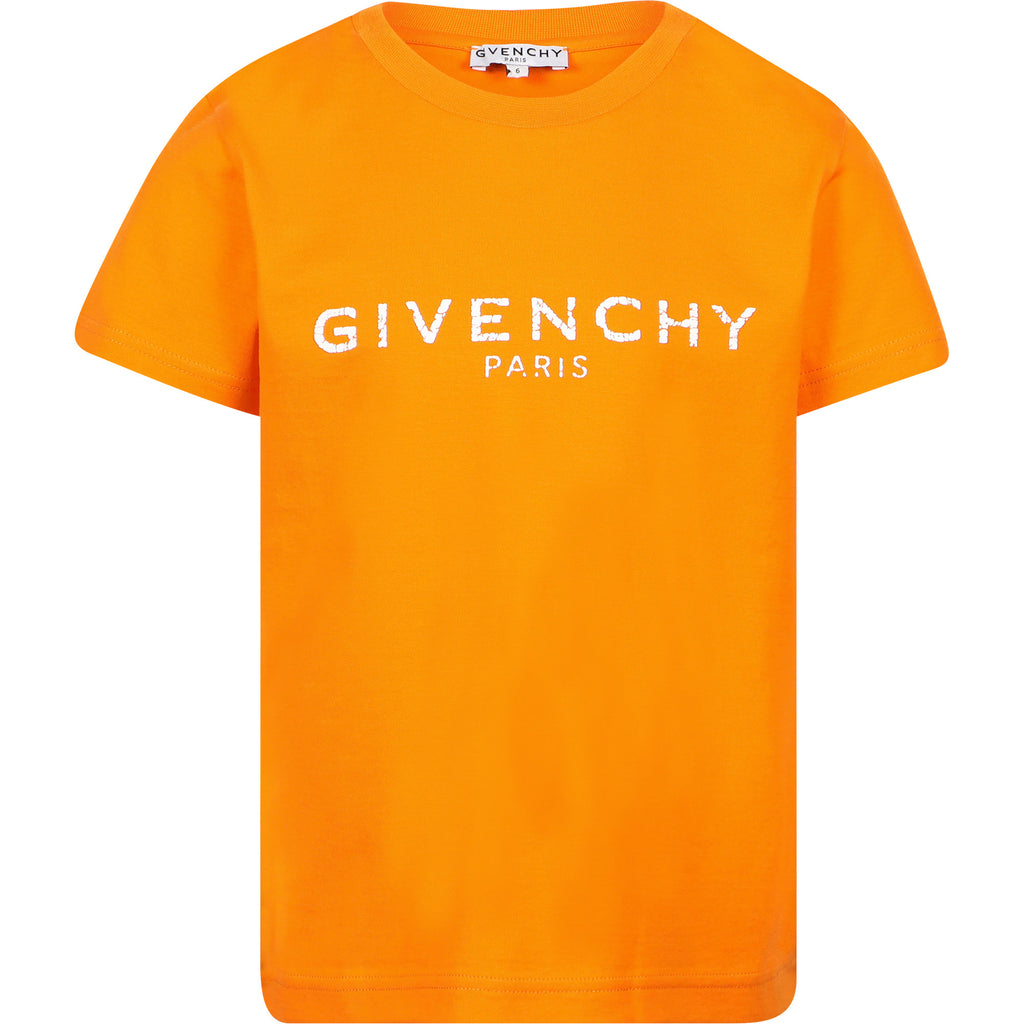 BOY SS TSHIRT,CRACKED LOGO IN RUBBER INK,ORANGE