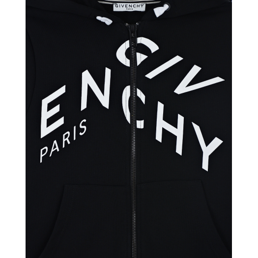 ZIP UP HOODIE, WAVY PRINTED LOGO, FRONT POCKET,BLACK