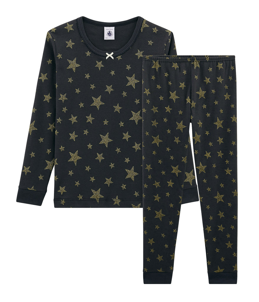PYJAMA, BLACK W/GOLD STARS - Cemarose Children's Fashion Boutique