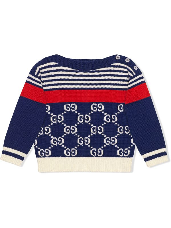 Baby GG and stripes knit jumper