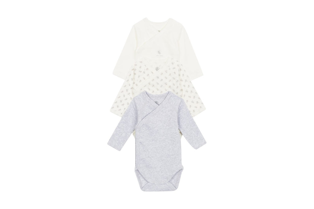 3 Pieces onesie set, White/grey - Cemarose Children's Fashion Boutique