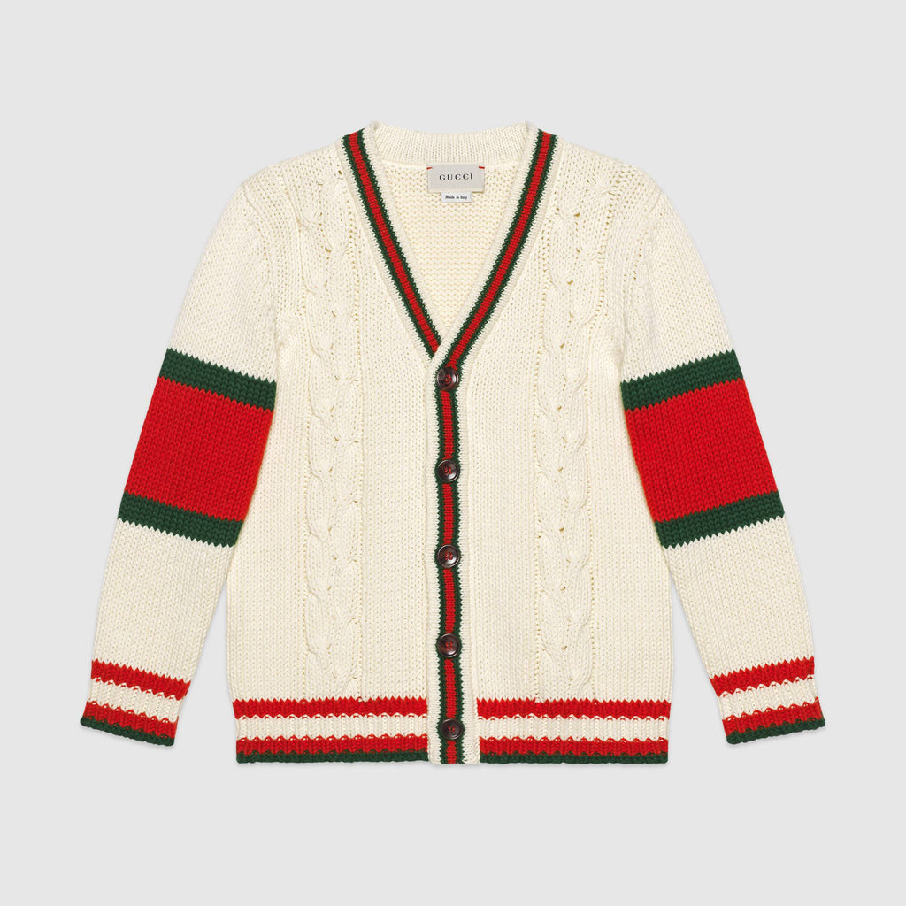 Children's cable knit cotton cardigan
