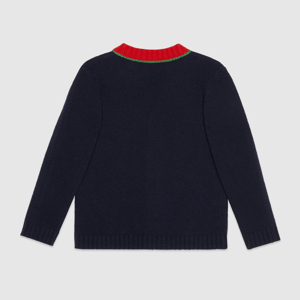 Children's wool cardigan with G patch