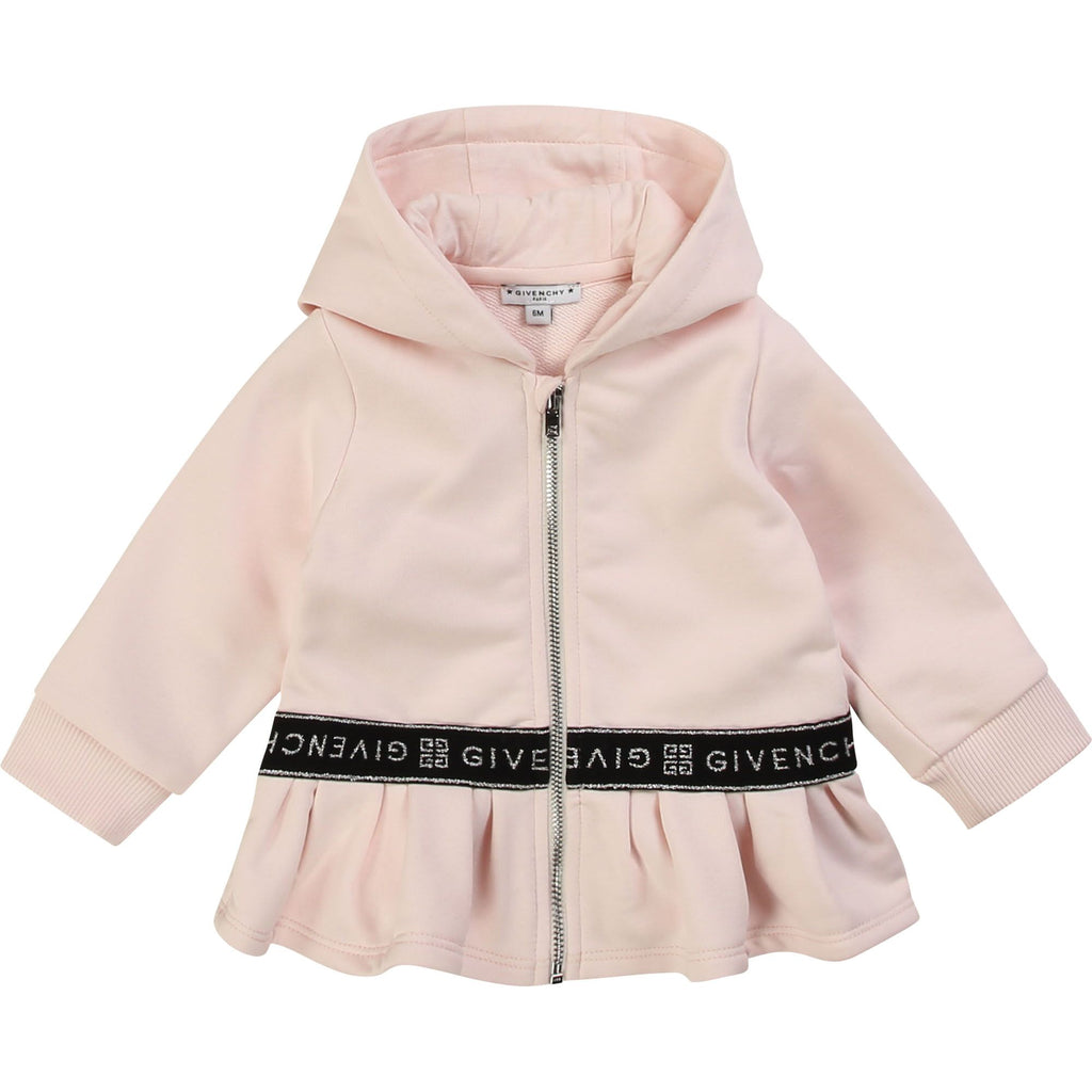 HOODED CARDIGAN, PINK PALE