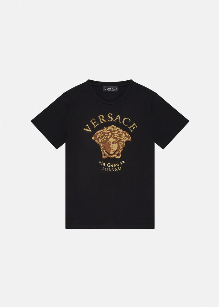 T-SHIRT-SHORT SLEEVES JERSET PRT,BLACK+GOLD
