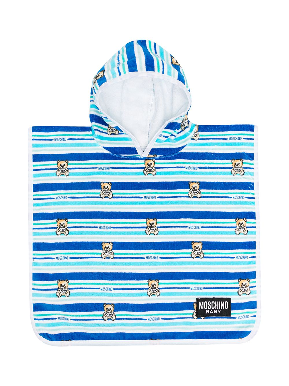 HOODED BABY TOWEL W STRIPES AND BEAR PRT,BLUE