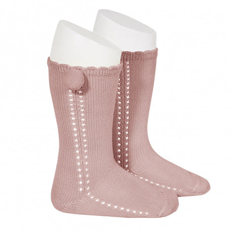 OPENWORK PERLE KNEE SOCSK WITH SIDE POMPOM, 2.568/2-526 - Cemarose Children's Fashion Boutique