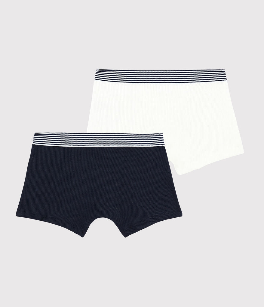 Boys' Ribbed Cotton Boxer Shorts - 2-Pack