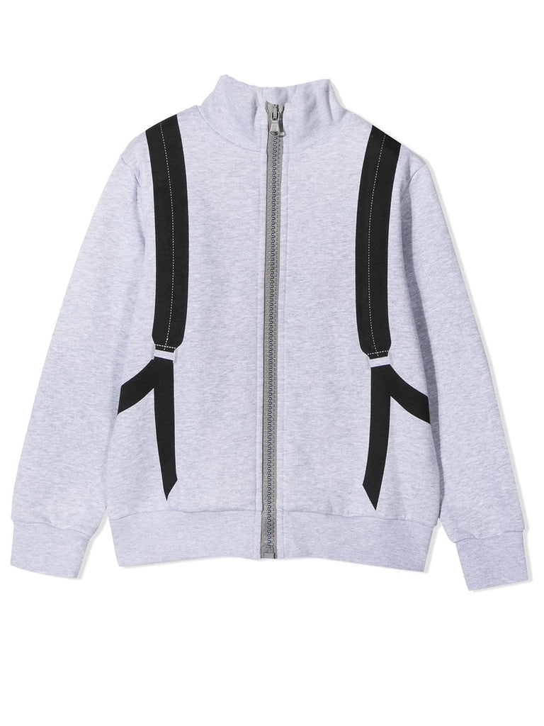BOYS CARDIGAN WITH BACKPACK AND RACER STRIP DETAILS,GREY