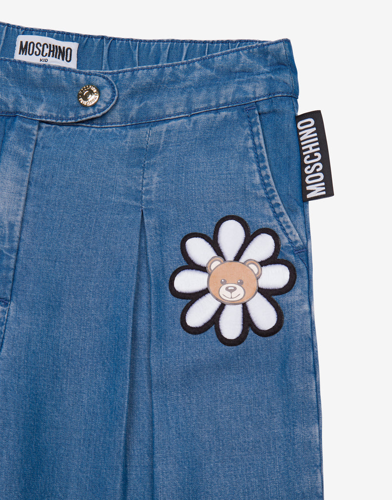 GIRL WIDE TROUSERS W SML TOY FLOWER PRINT,AZZUR BLU