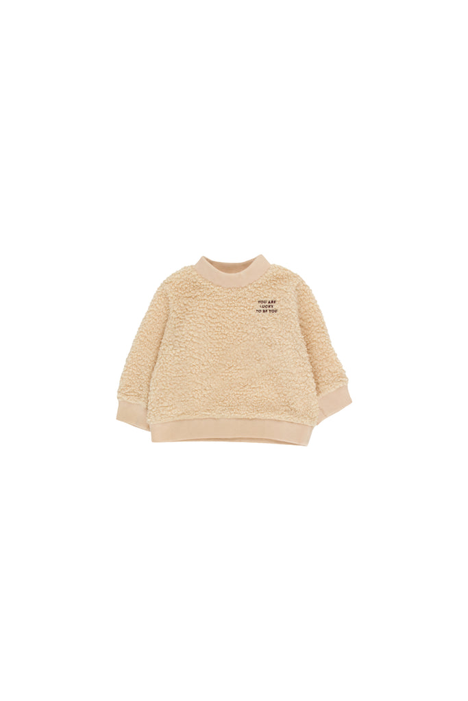 'YOU ARE LUCKY'' SWEATSHIRT sand/aubergine