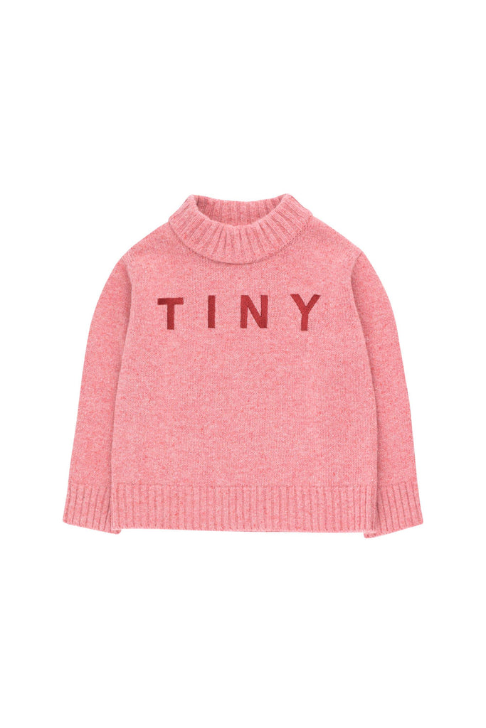 'TINY'' MOCK SWEATER pale pink/burgundy