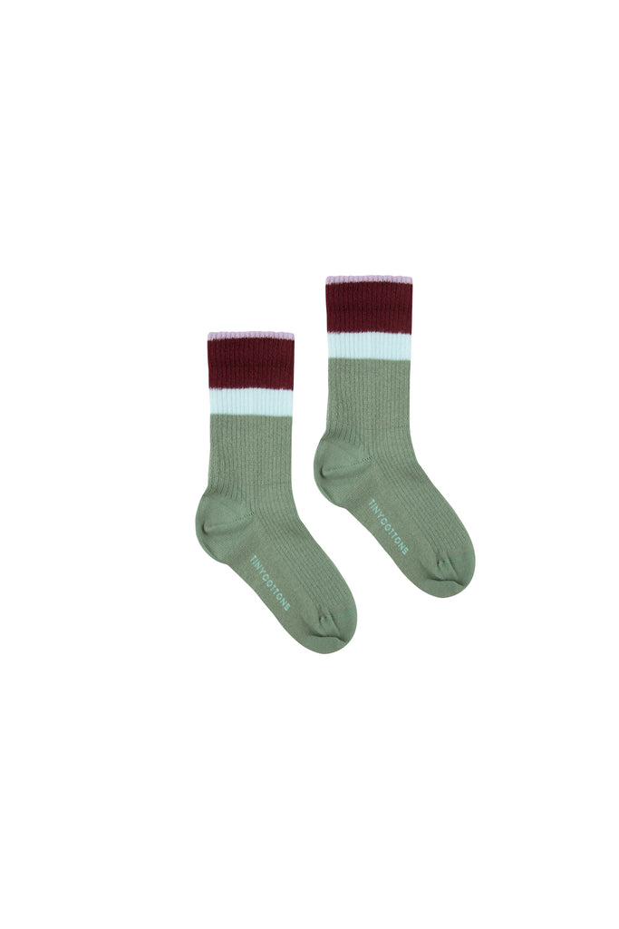 STRIPES MEDIUM RIB SOCKS green wood/aubergine - Cemarose Children's Fashion Boutique