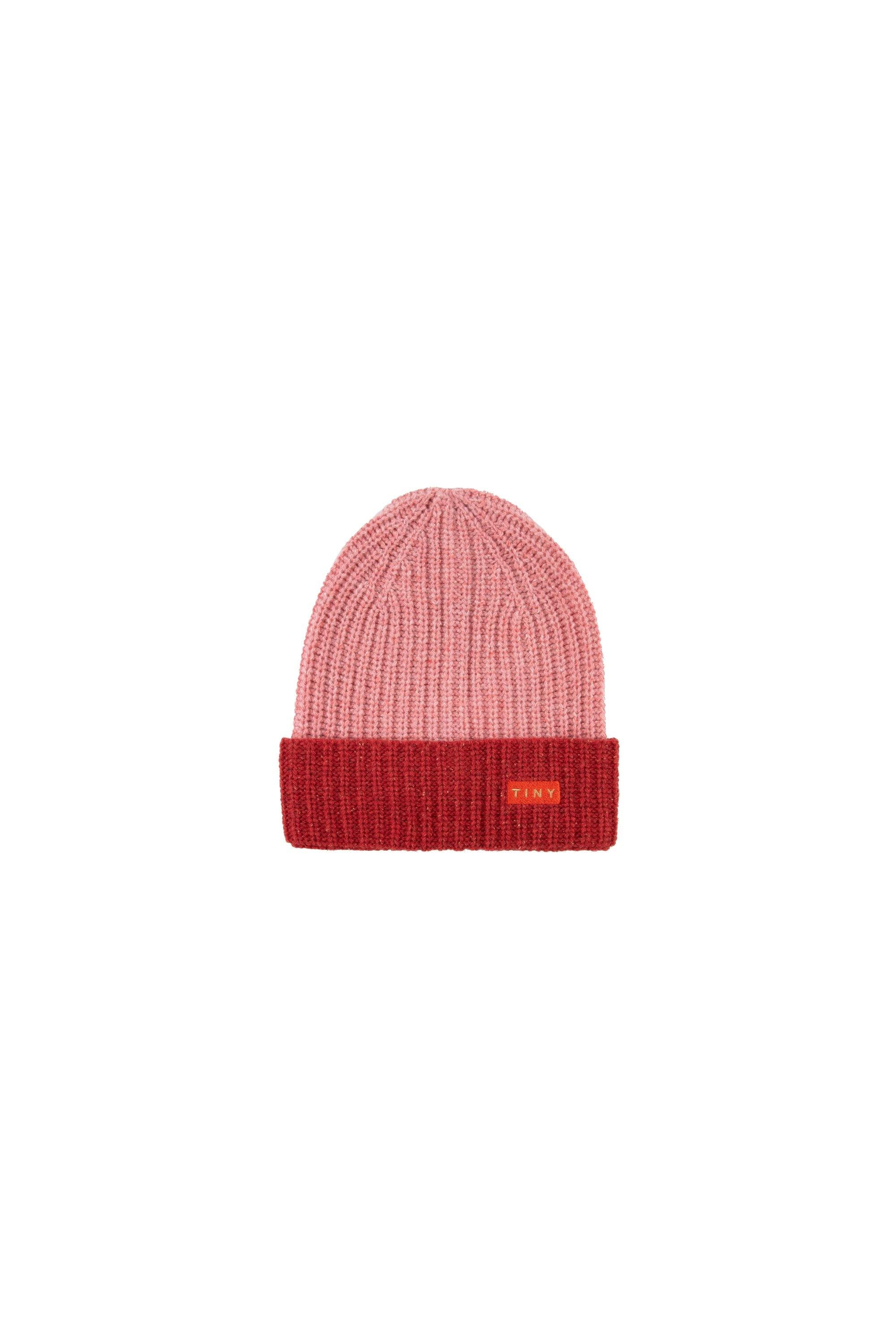 'TINY'' COLOR BLOCK BEANIE pale pink/burgundy