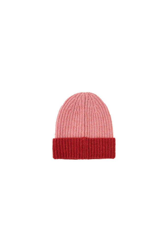 'TINY'' COLOR BLOCK BEANIE pale pink/burgundy - Cemarose Children's Fashion Boutique
