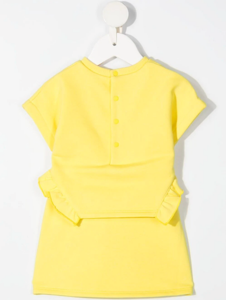 BABY SS DRESS, FLOUNCES,IRIDESCENT PRINTED LOGO,YELLOW