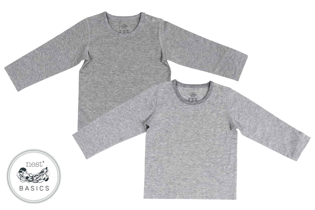 Basics Organic Cotton Long Sleeve T-Shirt (2pack) - Striped and Light Grey