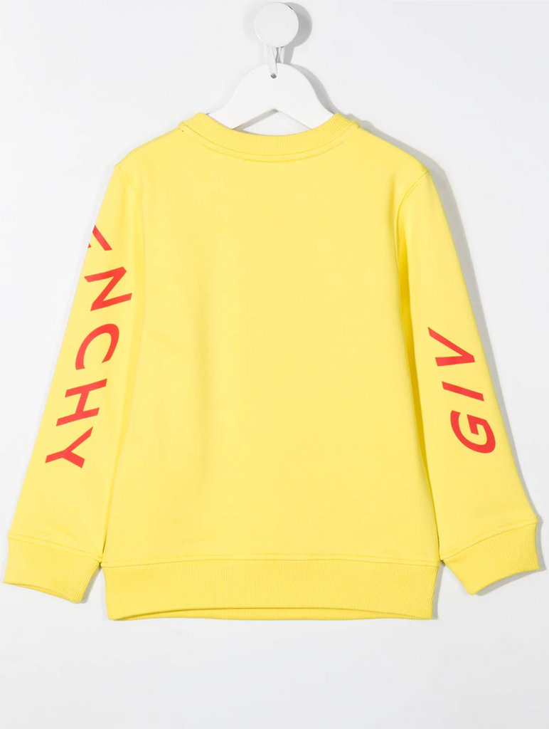 BOY PULLOVER, WAVY PRINTED LOGO,YELLOW