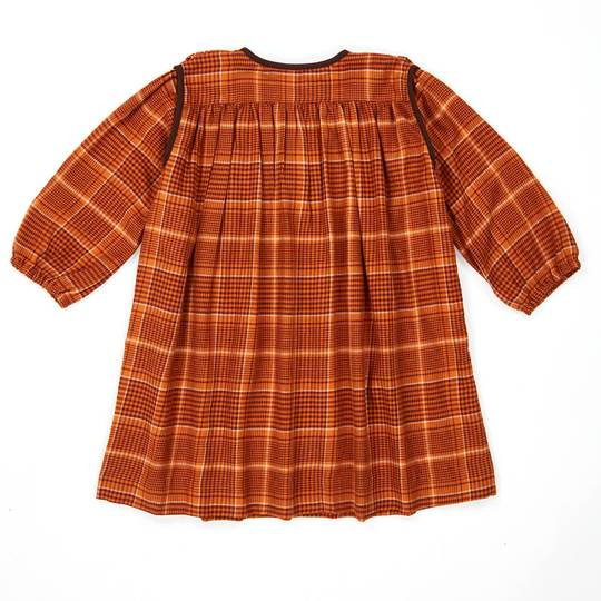 DOVE DRESS,ORANGE CHECK
