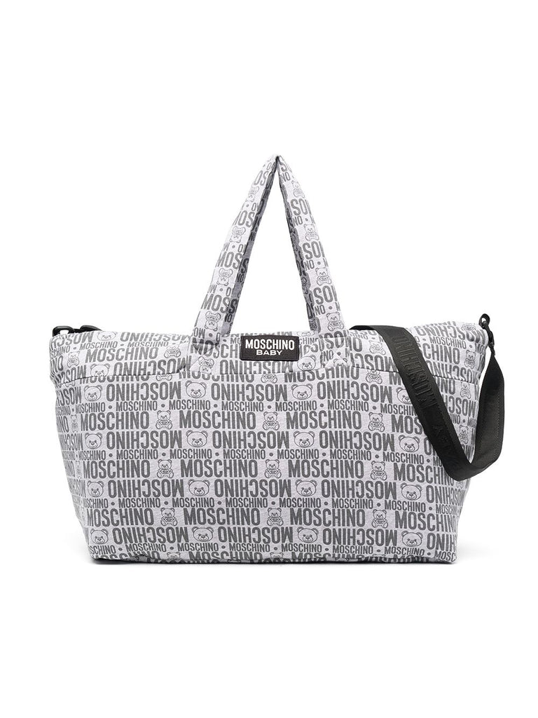 BABY CHANGING BAG W MAT AND LOGO PRINT ALLOVER,GREY