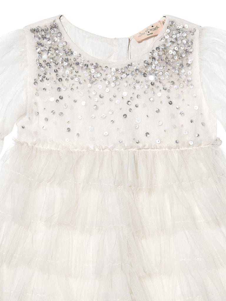 BIJOU TULLE DRESS 'BEBE', MILK
